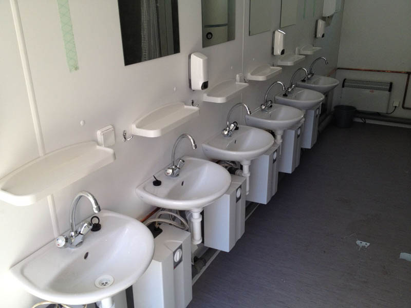 Kontener sanitarny, ubikacje, umywalki